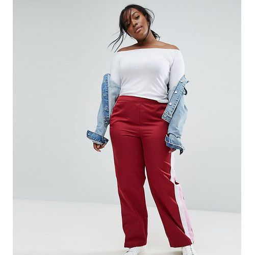 straight leg track pants with side stripes and ring pulls - red, Asos curve
