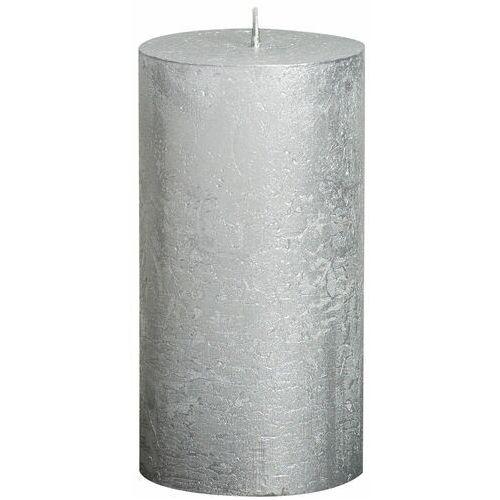 Bolsius Świeca pieńkowa rustic metallic srebrna wys. 13 cm