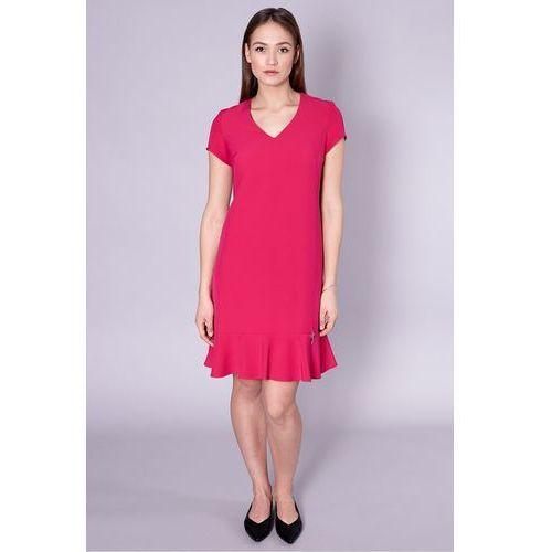 Jedwabna sukienka z falbaną w kolorze różowym - Click Fashion, 1 rozmiar
