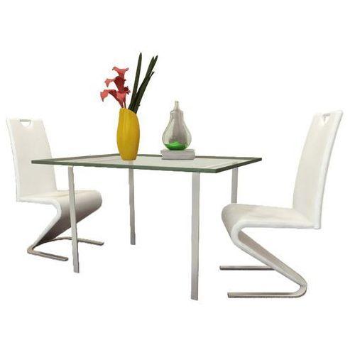 Vidaxl Krzesła wspornikowe do jadalni, 2 szt., sztuczna skóra, białe