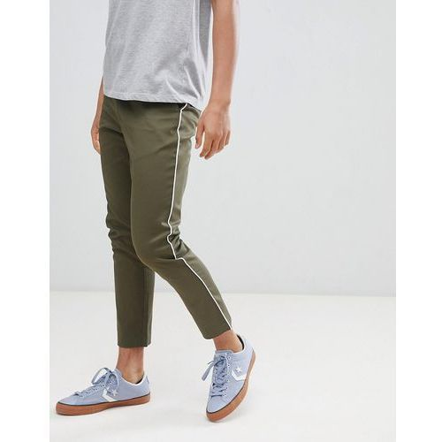 boohooMAN tapered chinos with side panel detail in khaki - Green, kolor zielony