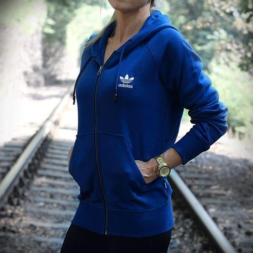 Buty Bluza adidas Full Zip Hoodie AY6615, kolor niebieski