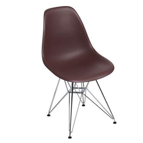 Krzesło P016 PP brązowe, chromowane nogi, kolor brązowy