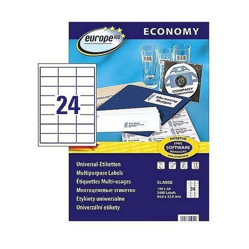 Etykiety samoprzylepne economy 64,6x33,8mm białe 100ark. a4, ela008 marki Avery zweckform