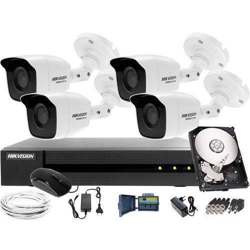 4 kamerowy zestaw do monitoringu firmy, magazynu hikvision hwd-6108mh-g2, 4 x hwt-b120-m, 1tb, akcesoria marki Hikvision hiwatch