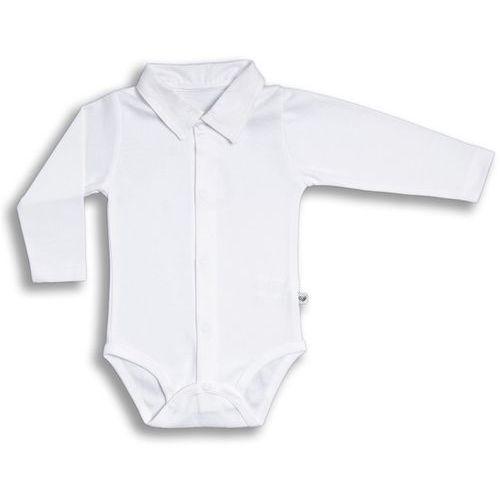 Body rozpinane z długim rękawem NANAF ORGANIC, Retro, białe polo - Długi