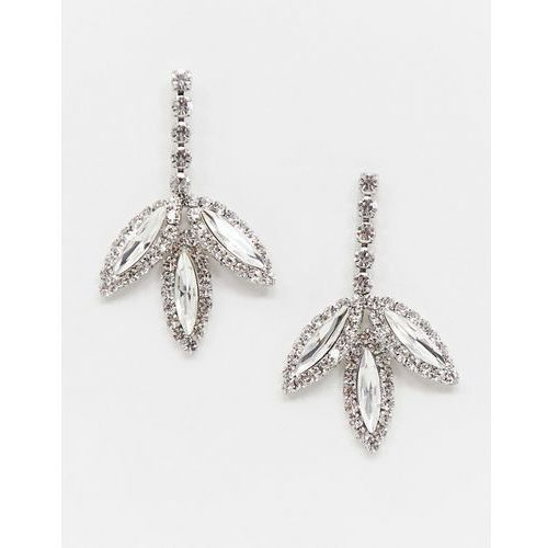 True Decadence crystal drop leaf earrings - Silver