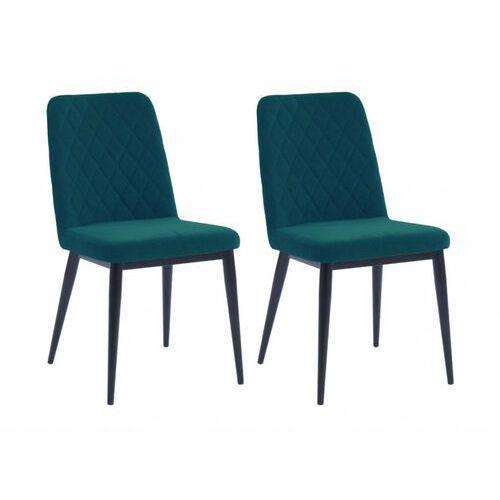 Vente-unique Zestaw 2 krzeseł pila – pikowane – tkanina i metal – kolor niebieski