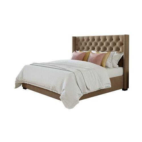 Łóżko MASSIMO z pikowanym wezgłowiem - 160 × 200 cm - Beżowa tkanina