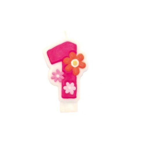 Świeczka cyferka jedynka 1 różowa - 1 szt. marki Amscan
