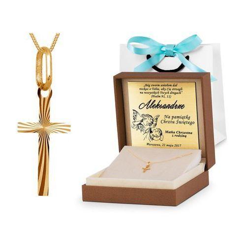Złoty Komplet 585 Łańcuszek z Krzyżykiem GRAWER ZZ11