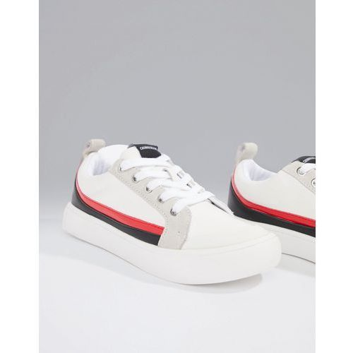 Calvin Klein white Dodie trainers with suede stripes - White