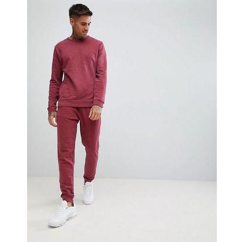 tracksuit sweatshirt/skinny joggers in burgundy marl - red marki Asos design