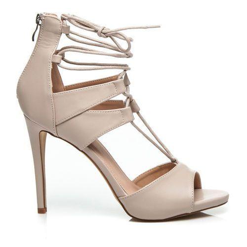 Wilady Seksowne, wiązane sandały - odcienie brązu i beżu