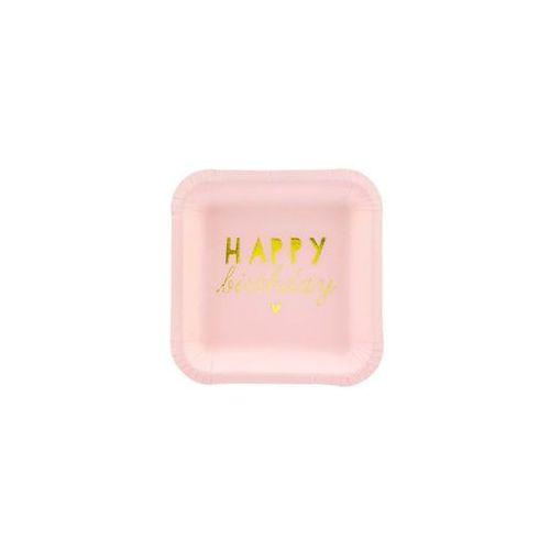 Talerzyki Happy Birthday jasnoróżowe - 14 cm - 6 szt. (5900779101661)