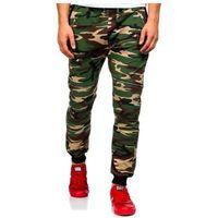Spodnie dresowe joggery męskie moro-khaki denley 0724, Athletic