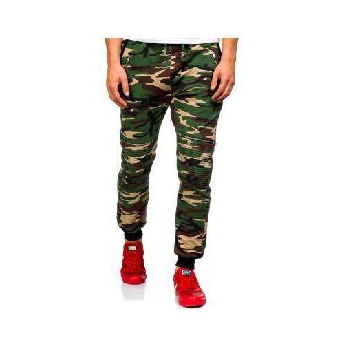 Spodnie dresowe joggery męskie moro-khaki Denley 0724, 1 rozmiar