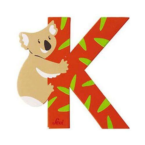 Drewniana literka K, zwierzęta