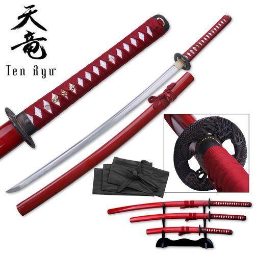 Zestaw profesjonalnych mieczy japońskich czerwony smok - tr-030bg4 do treningu marki Usa