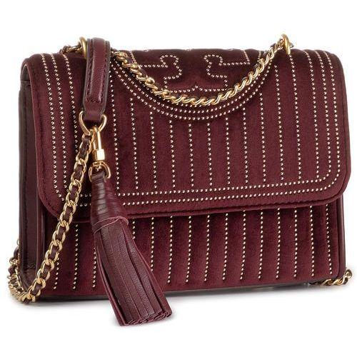 Tory burch Torebka - fleming mini stud velvet small shoulder bag 56277 claret 639