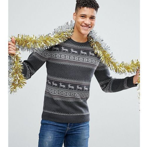 Selected Homme TALL Knitted Christmas Jumper In 100% Cotton - Grey
