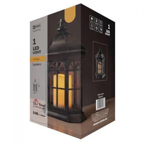 Czarny lampion świąteczny LED ze świecą na baterie 3xAAA ZY2117 EMOS