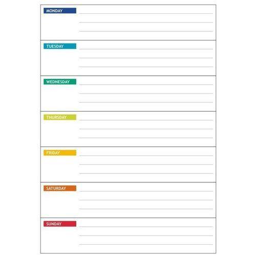 Wally - piękno dekoracji Magnetyczna tablica suchościeralna lean 045 planer tygodniowy angielski