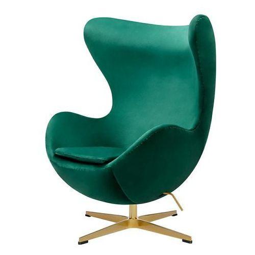 Fotel w kształcie jajka egg classic velvet gold zielony - welur, podstawa złota marki King home