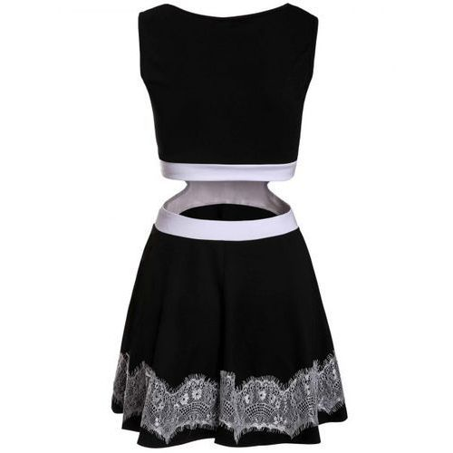 Charming Sleeveless Waist Hollow Out Lace Spliced Mini Dress For Women