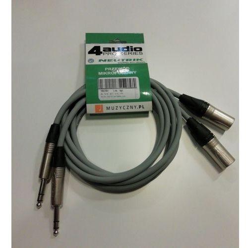 4Audio Monitor Set zestaw przewodów do monitorów studyjnych 2 x 1,5m XLRm TRS (szary) Neutrik