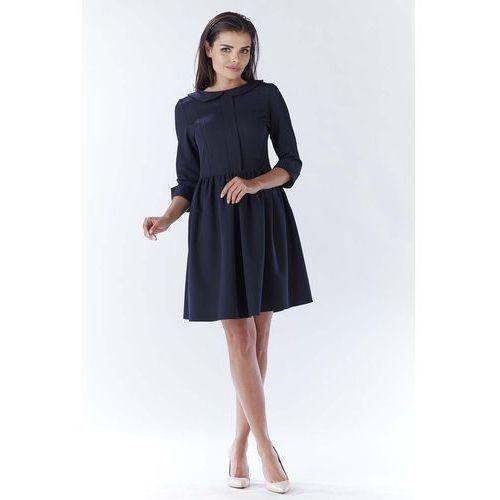 Granatowa Elegancka Sukienka z Okrągłym Kołnierzykiem, WA183dbe