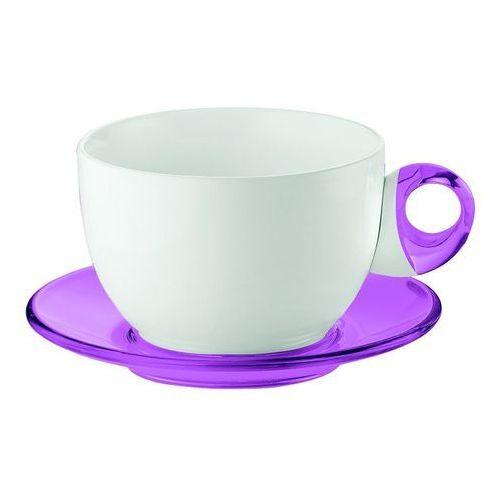 - komplet 2 filiżanek śniadaniowych - art & cafe - fioletowe - fioletowy marki Guzzini