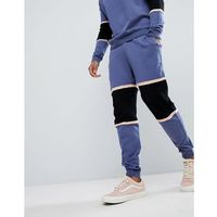 Asos knitted co-ord colour block joggers with mesh panel - blue