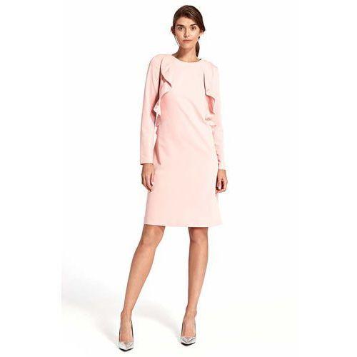 6278e00a96 Różowa Elegancka Wizytowa Sukienka z Pionowymi Falbankami