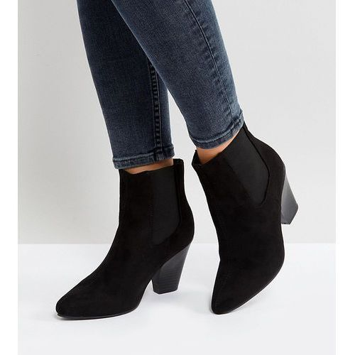 New look wide fit pointed western heeled ankle boot - black
