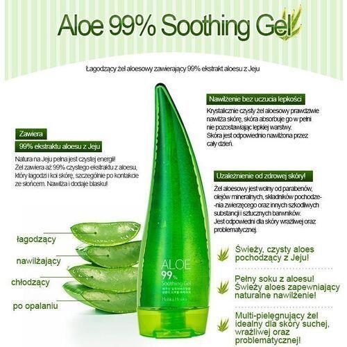 aloe 99% soothing gel, azjatycki żel aloesowy do twarzy, ciała i włosów 55ml marki Holika holika