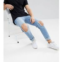Brooklyn Supply Co Light Wash Skinny Jeans With Hem Detail And Knee Rip - Blue
