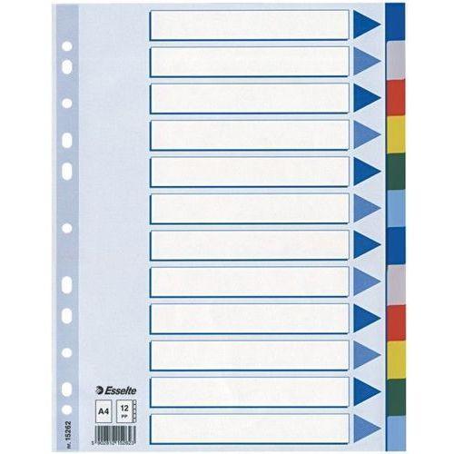 Esselte Przekładki plastikowe 12 kartek  pp a4 kolorowe - x02738