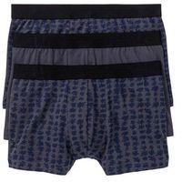Bokserki (3 pary) bonprix niebiesko-czarny z nadrukiem + niebieski gładki, kolor niebieski