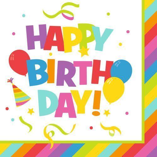 Serwetki Happy Birthday 33x33cm 20szt PELIKAN - Happy Birthday Red