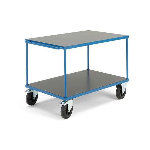 Wózek platformowy, 2 półki, hamulce, gumowe koła, 800x1200 mm marki Aj produkty