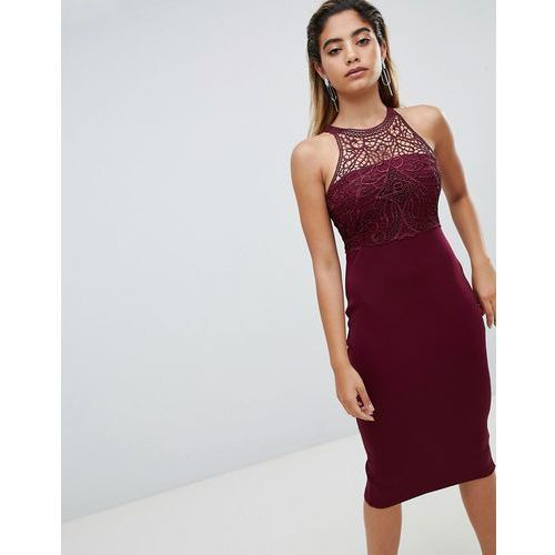 Ax paris midi pencil dress with lace detail - purple