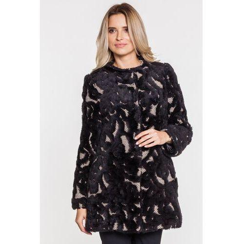 Beżowo-czarny płaszcz - Studio Mody Francoise, kolor czarny