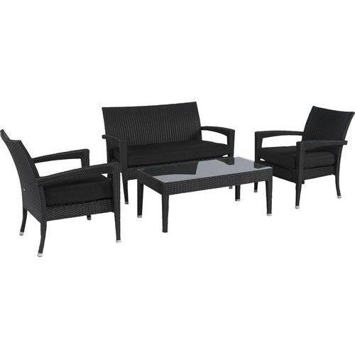Zestaw technoratanowy relaks czarny ze stolikiem dobrebaseny marki Pure garden & living