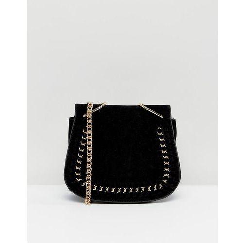 Yoki fashion S suede effect across body saddle bag - black