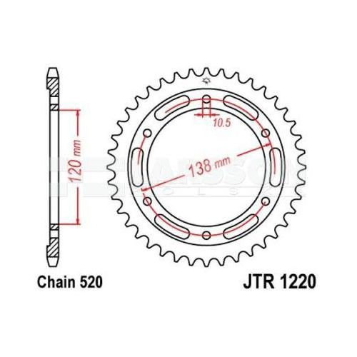 Zębatka tylna stalowa JT R 1220-38, 38Z rozmiar 520 2302613 Honda CBR 250