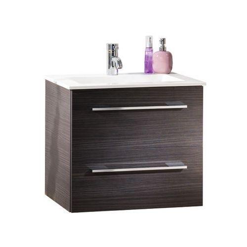 Lanzet Szafka łazienkowa dąb z umywalką 60 cm P5 - ciemny dąb \ ciemny dąb \ 60 cm