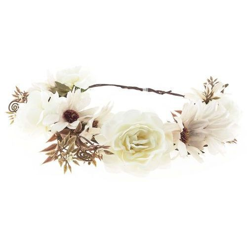 Wianek dużo kwiatów białe i krem - białe i krem
