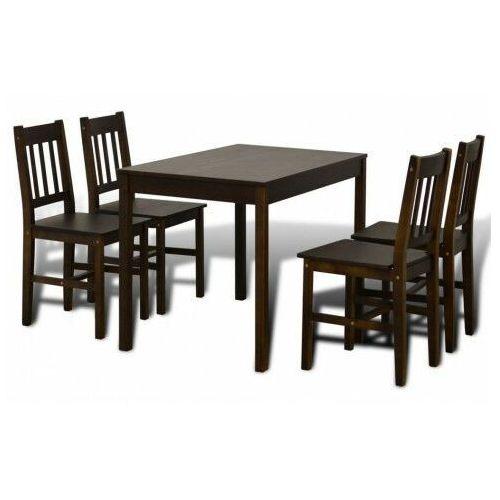 Elior Ciemnobrązowy zestaw stół i 4 krzesła – ellen