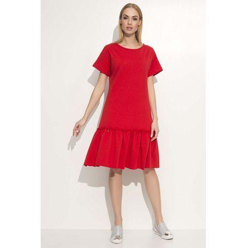 Czerwona Luźna Midi Sukienka Wykończona Falbanką, 1 rozmiar